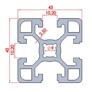 45x45 ağır sigma profil kesit